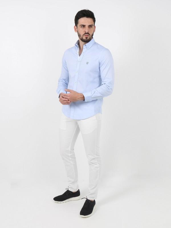 Calças chino estrutura algodão slim fit