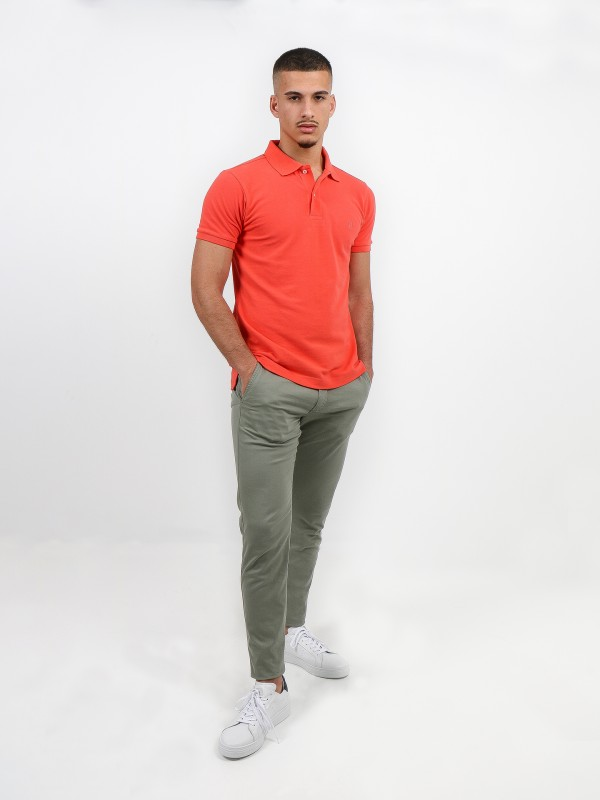 Calças chino slim fit algodão elástico