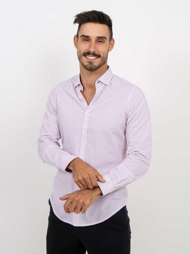 Slim fit pattern cotton shirt