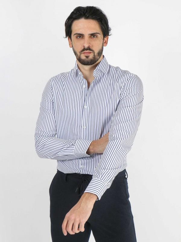 Striped pattern shirt italian collar