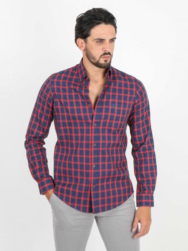 Plaid pattern cotton shirt