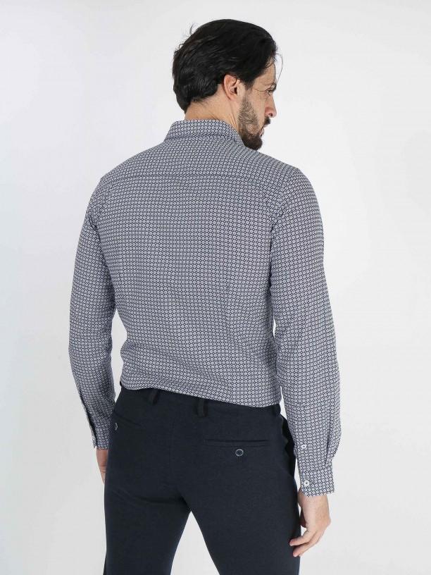 Mosaic pattern slim fit shirt