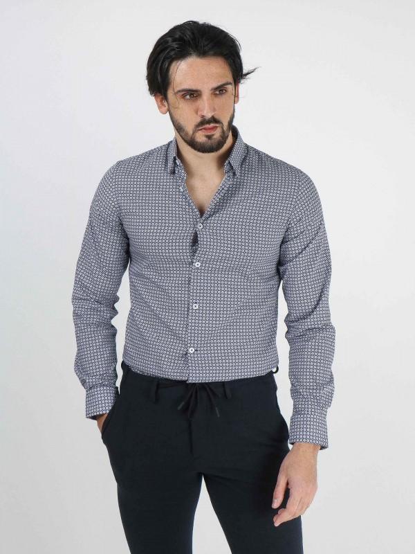 Camisa padrão mosaico slim fit
