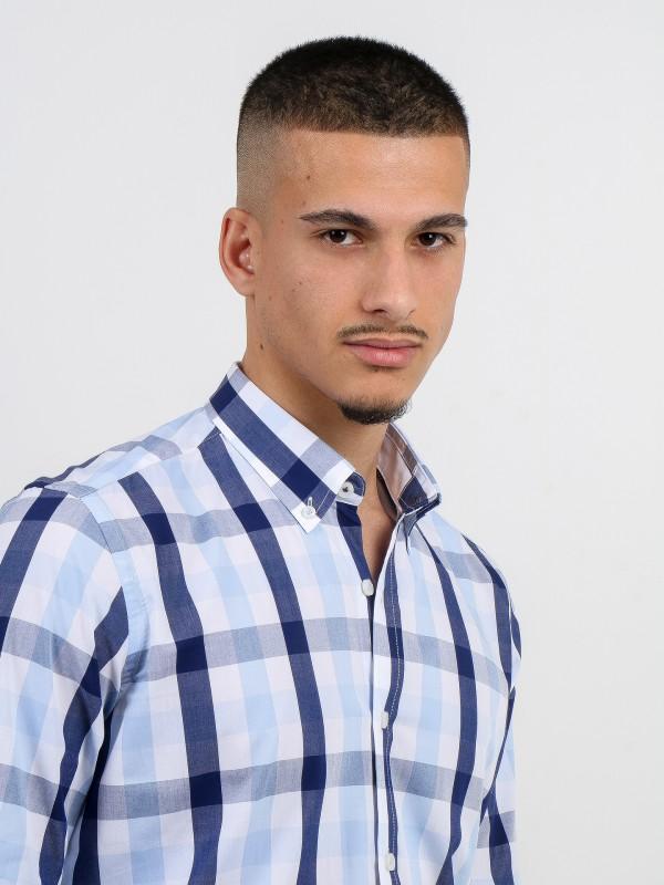 Cotton plaid pattern shirt