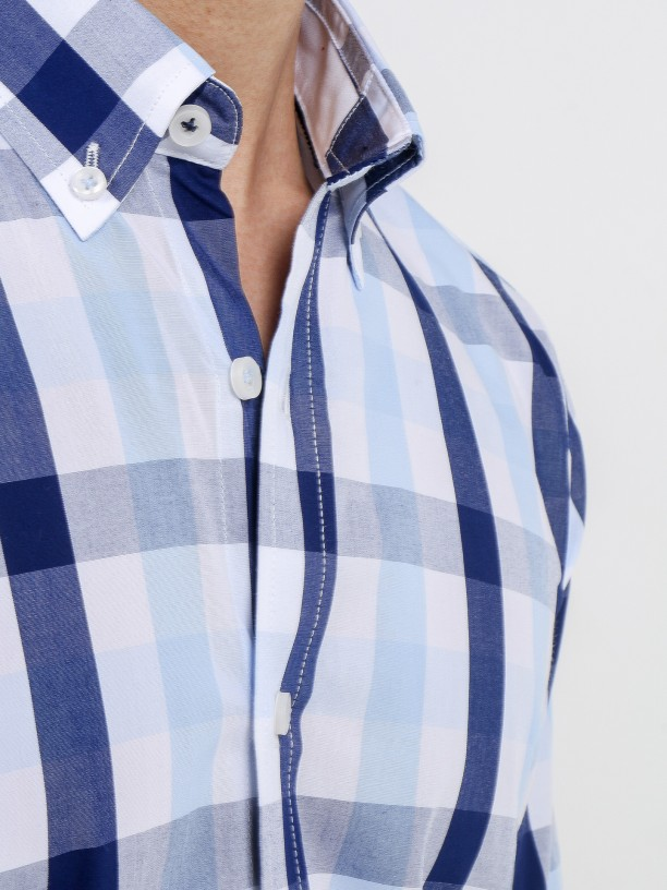 Camisa de algodão padrão xadrez