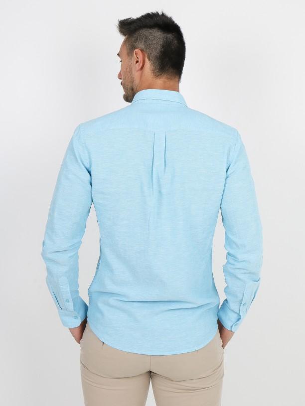 Camisa de lino y algodón relaxed fit