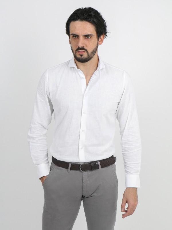 Camisa de lino y algodón cuello corto