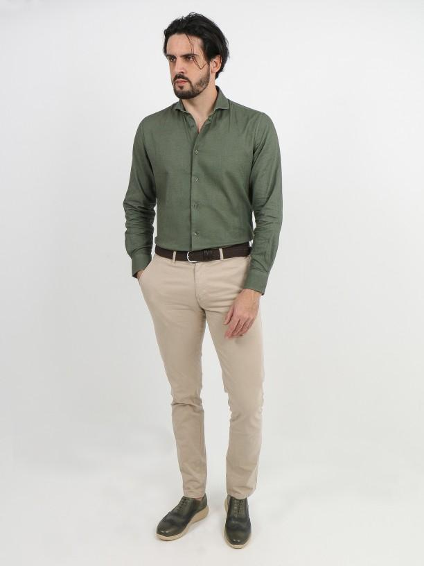 Short collar linen cotton shirt