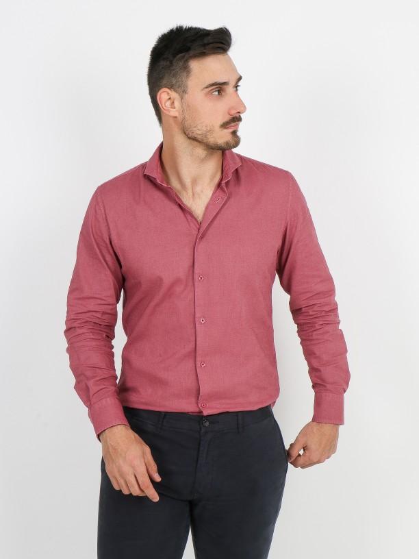 Camisa de linho e algodão colarinho curto