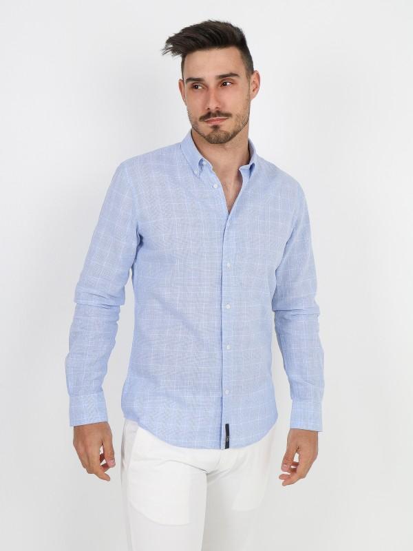 Camisa de lino y algodón cuadros
