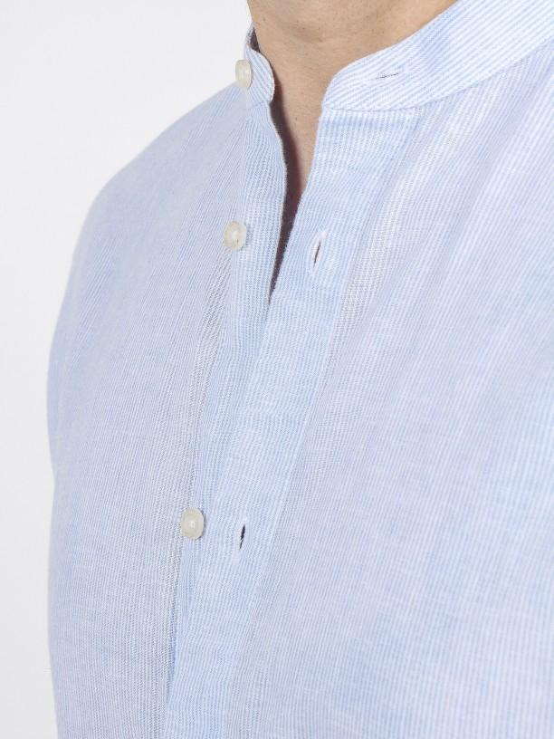 Camisa de linho e algodão com gola mandarim