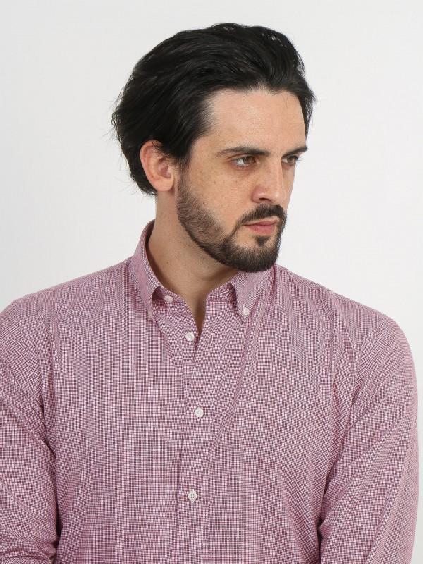 Camisa de lino y algodón micro estampado