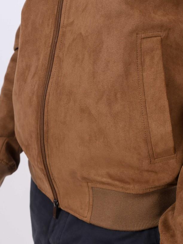 Suede effect bomber jacket