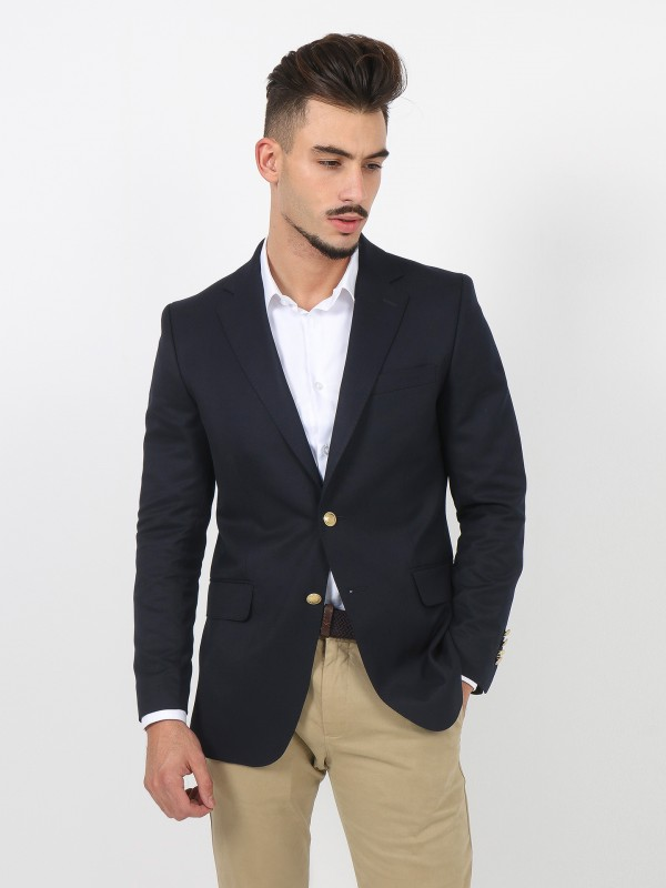 Plain blazer with gold buttons