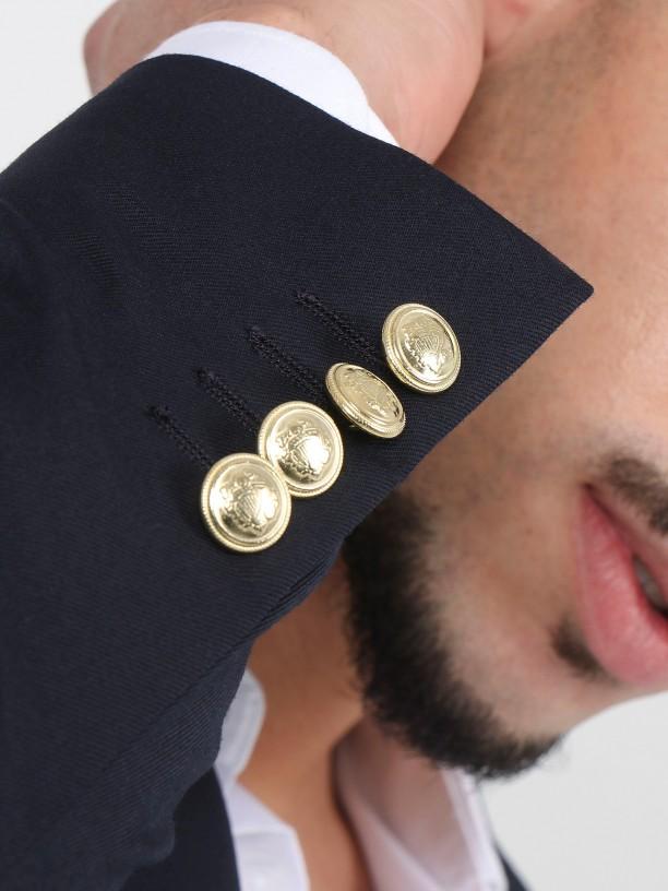 Blazer liso com botões dourados