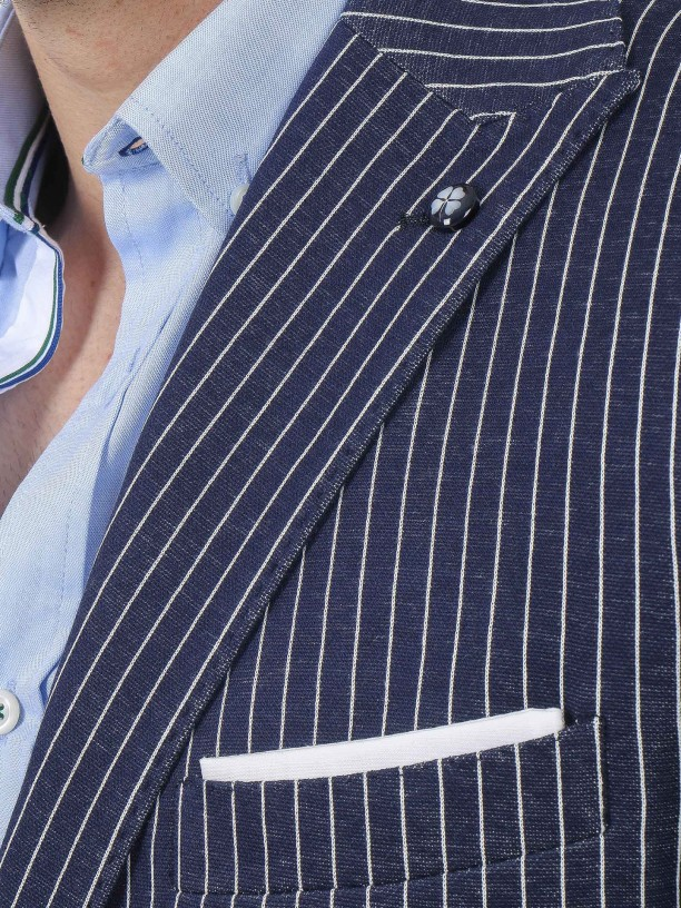 Stripes pattern cotton blazer
