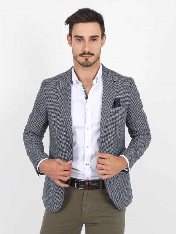 Linen micro pattern blazer