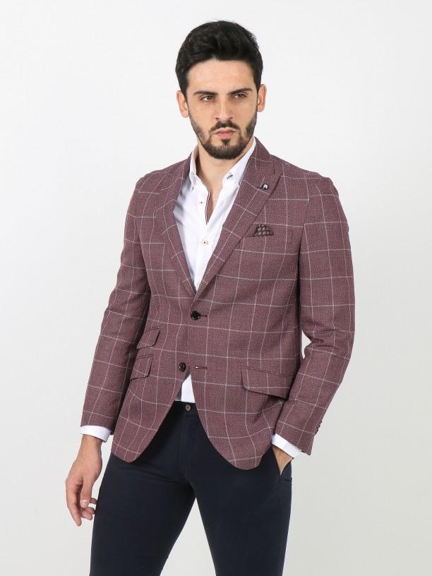 Plaid pattern blazer