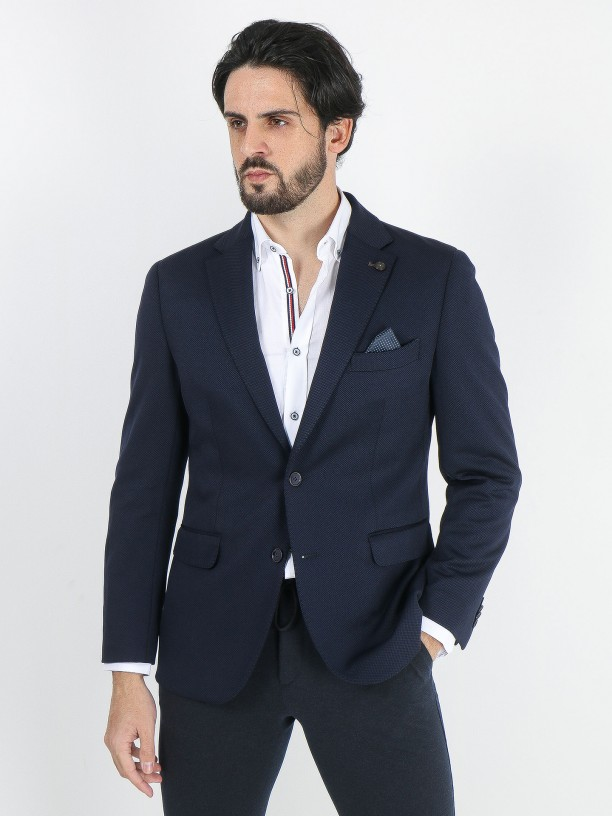 Structured blazer with elbow pads