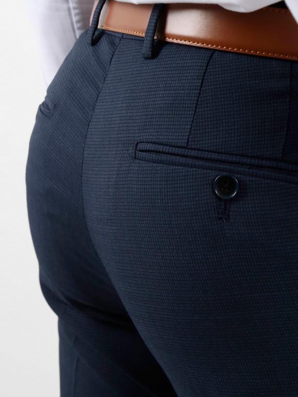 Regular fit wool micro pattern suit