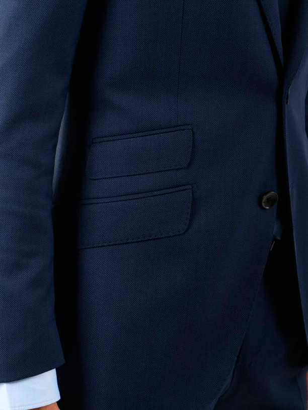 Regular fit micro pattern wool suit