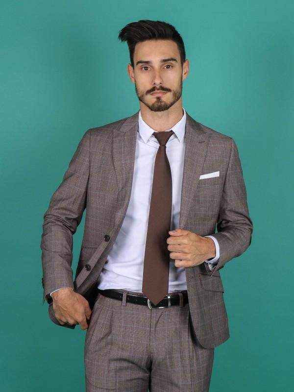 Regular fit plaid pattern suit
