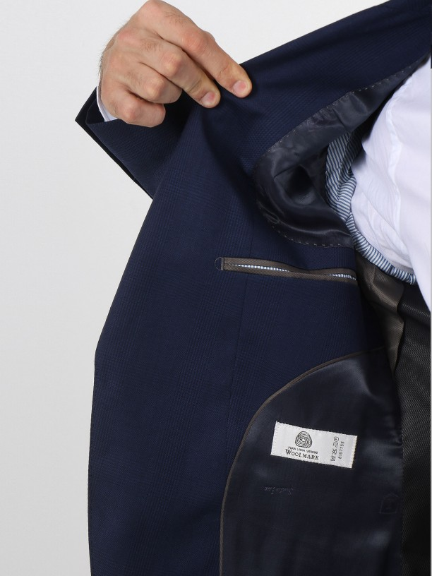Regular fit plaid pattern virgin wool suit
