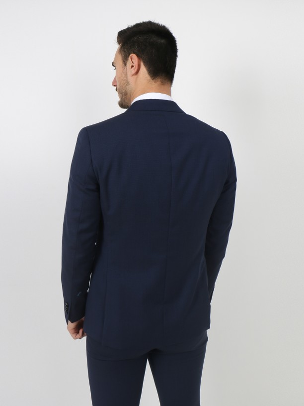 Regular fit micro pattern virgin wool suit