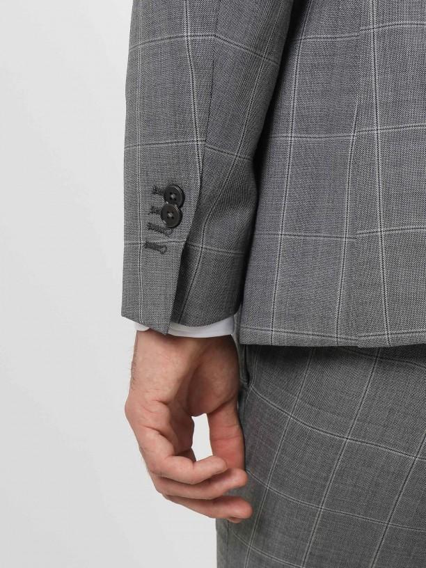 Traje de estampado 100% lana regular fit con chaleco