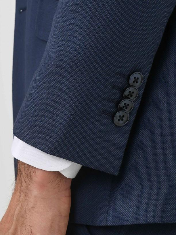 Traje de micro estampado lana regular fit