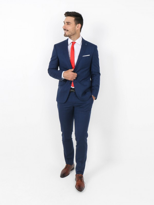 Wool and silk pattern slim fit suit