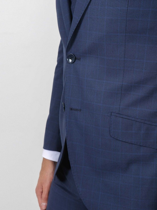 Regular fit plaid pattern suit with waistcoat