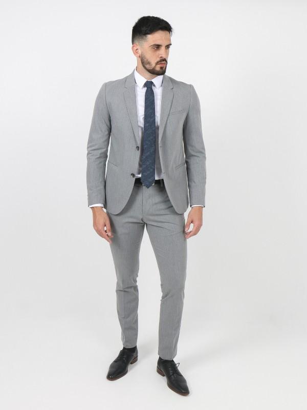 Slim fit sewed lapel plain suit