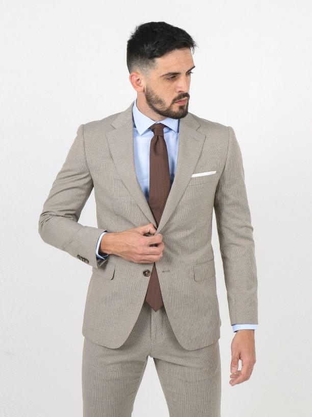 Regular fit stripes pattern suit