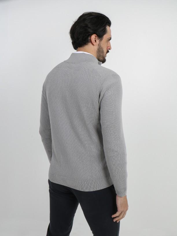 Cotton knit structured zip cardigan