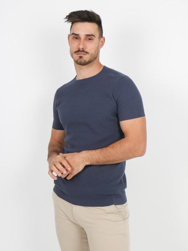 T-shirt de malha estruturada algodão