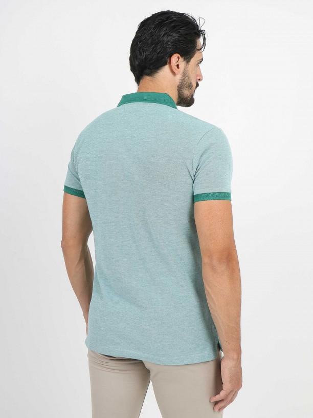 Cotton pattern polo shirt