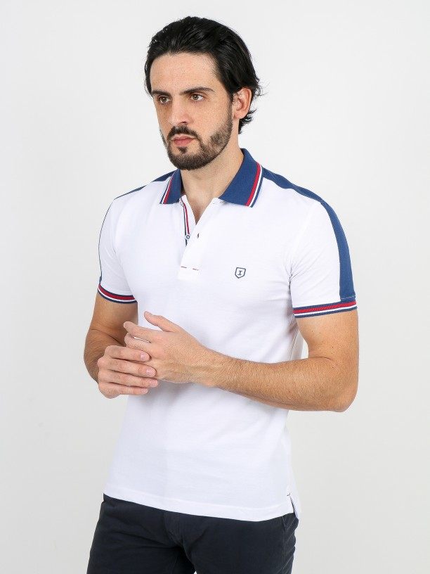 Cotton pique polo shirt with side bands