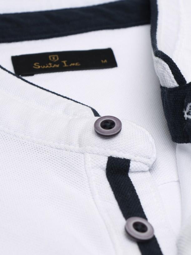 Pique mao collar polo shirt