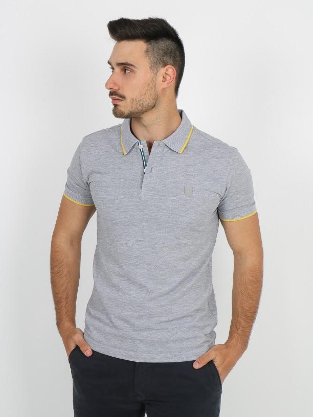 Stripe cotton pique polo shirt