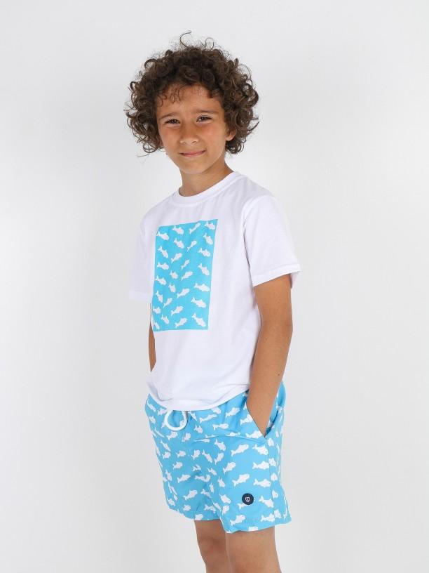 Sharks pattern swim shorts