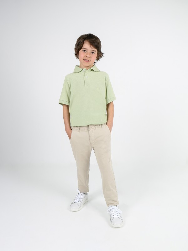 Calças chino algodão elástico