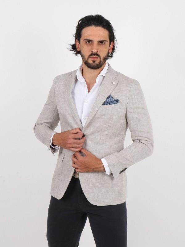 100% linen pattern blazer