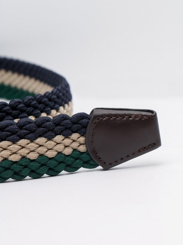 Cinturón casual entranzado tricolor