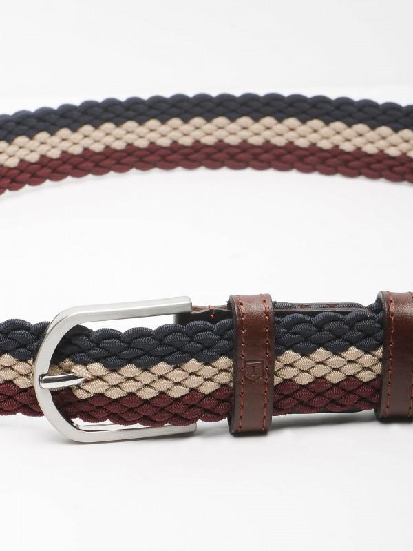 Tricolor braided detail belt