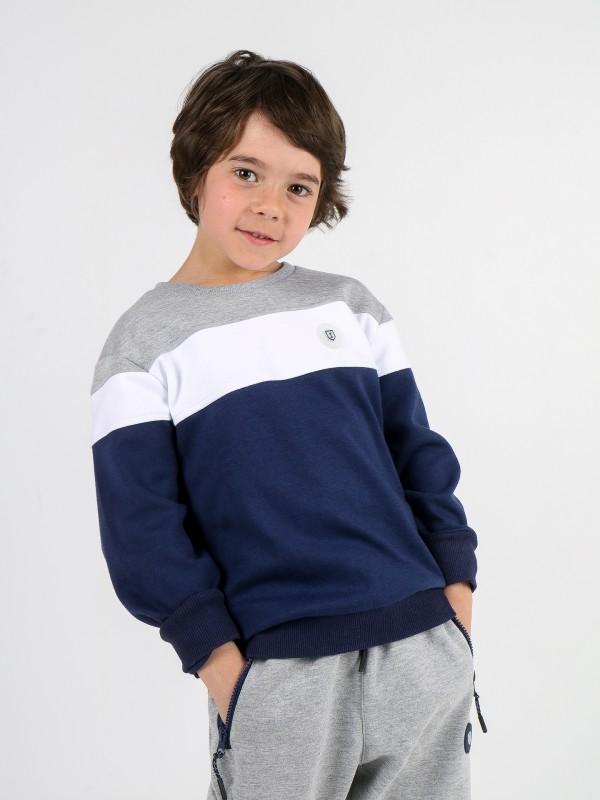 Camisola sweater de algodão tricolor