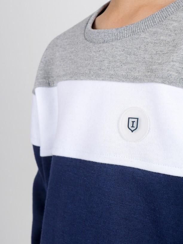 Tricolor cotton sport sweater