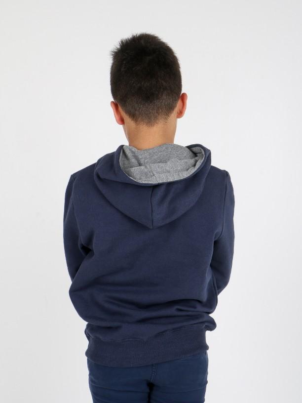 Sudadera hoodie algodón con contraste