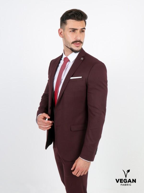 Plain slim fit suit vegan fabric