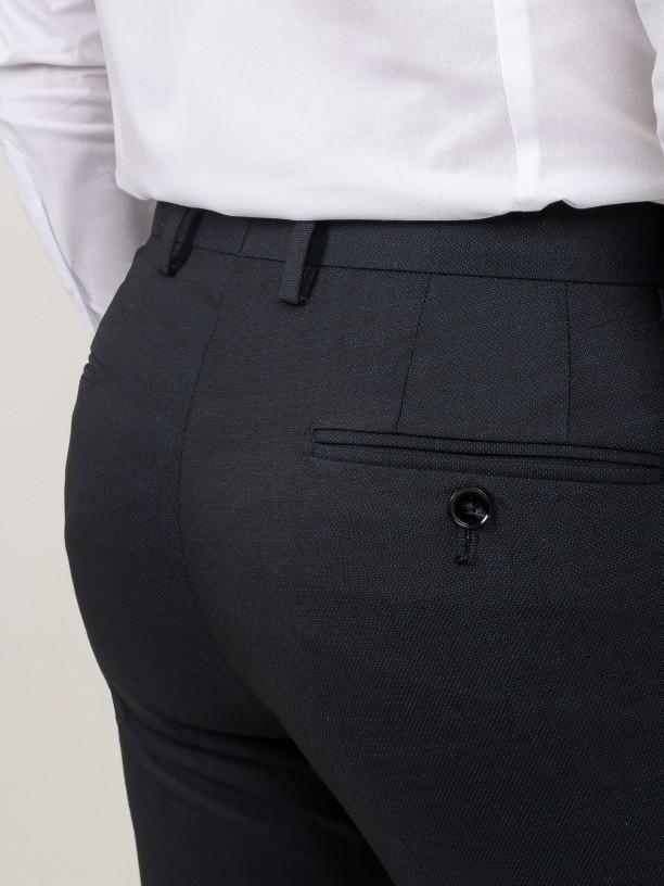 Micro pattern regular fit 100% wool suit